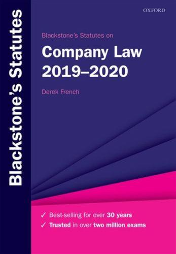 9780198838708 Blackstone's Statutes on Company Law 2019-2020
