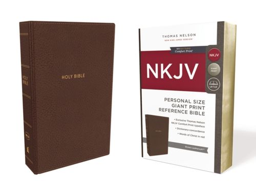 9780785216711 NKJV, Reference Bible, Personal Size Giant Print, Leathersoft, Brown, Red Letter Edition, Comfort Print