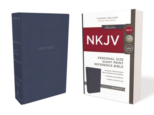9780785216858 NKJV, Reference Bible, Personal Size Giant Print, Leathersoft, Blue, Red Letter Edition, Comfort Print